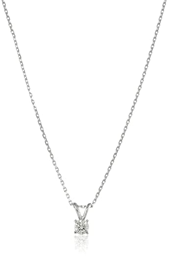 7af4726b5 14k Gold Round-Cut Diamond Solitaire Pendant Necklace (K-L Color, I1-I2  Clarity), 18