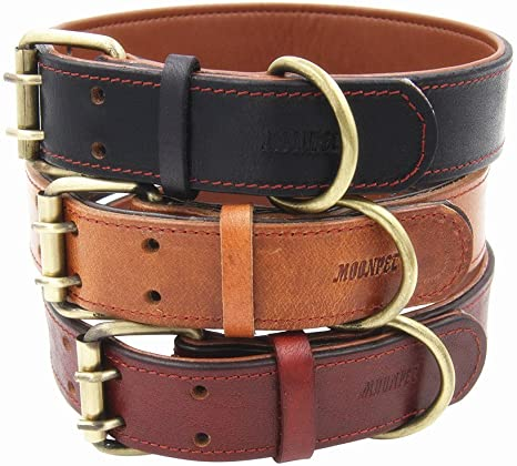 Moonpet Soft Padded Real Genuine Leather Dog Collar -