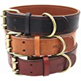 Moonpet Soft Padded Real Leather Dog Collar - Best Full Grain Heavy Duty Genuine Leather Collar - for Small Medium Large Male Female Dogs