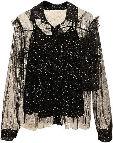 Camisa con Estilo Camisa de Gasa Ropa de Fiesta Blusa con Mangas largas Negra para Mujer: Amazon.es: Ropa y accesorios