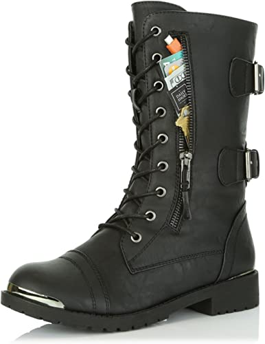 M Pink Hearts 13 B DailyShoes Womens Military Lace Up Buckle Combat Boots Mid Knee High Exclusive Credit Card Pocket