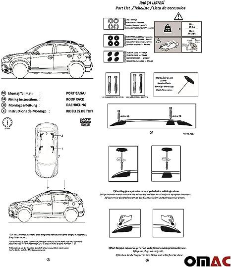 Omac Aluminium Grau Dachreling Dachgepäckträger Für Asx 2010 2020 Gepäckträger Relingträger Fahrzeugspezifisch Auto