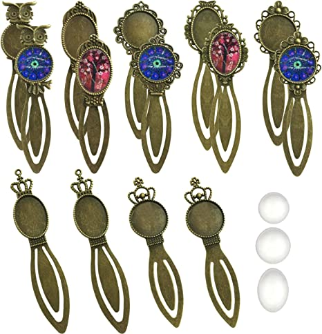 6 Styles Round and Oval Alloy Trays and Glass Cabochons for Reading Gift Crafting DIY Book Marker Making Glarks 12-Pieces Mixed Metal Antique Bronze Bookmark Sets