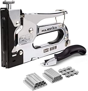 MAJESTIKA – Heavy Duty Staple Gun for Upholstery with 1500 Staples (D, U and T-Type), Staple Remover, 3 in 1 Stapler Gun for Upholstery, DIY Repair, Decoration, Carpentry, Wood Furniture.