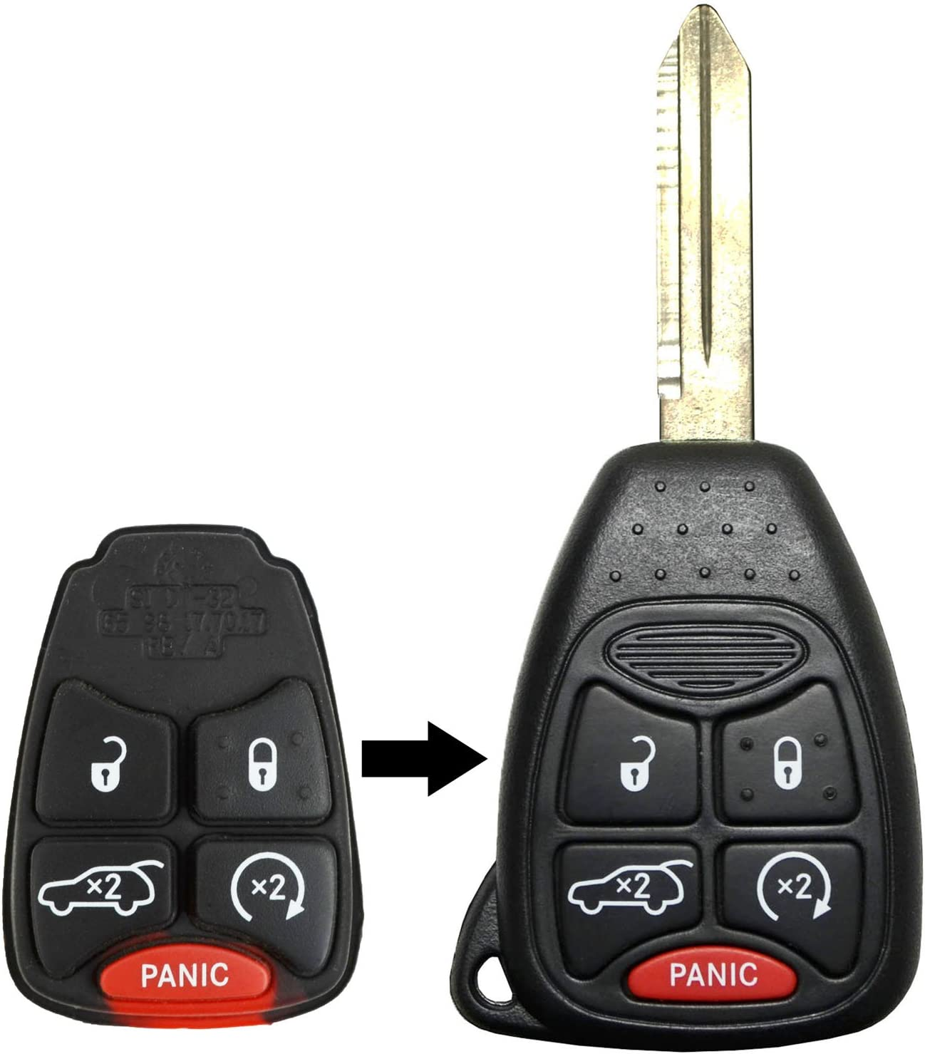 qualitykeylessplus Two Replacement 5 Button Hatch Remote Start Rubber Pads for Chrysler Dodge Jeep with Free KEYTAG