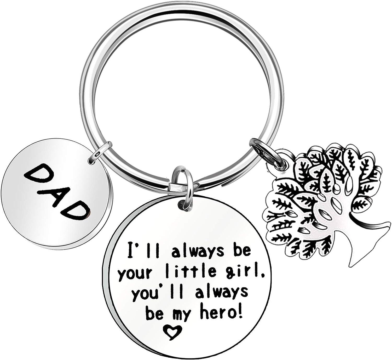 No/ël papa etc. Porte-cl/és en m/étal KENYG pour la f/ête des p/ères avec inscription /« Ill Always Be Your Little Girl /» Cadeau danniversaire pour p/ère /« You Always Be My Hero /»
