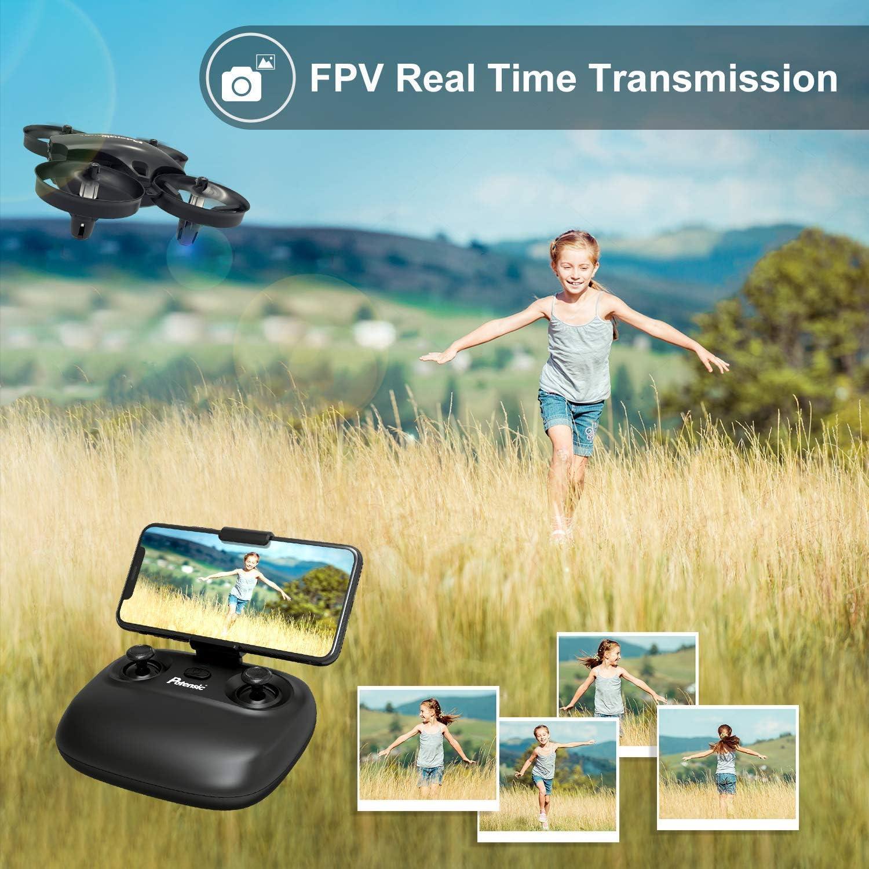 Noir Cadeau de No/ël Potensic Drone avec Cam/éra Mini Avion avec T/él/écommande Drone avec WiFi Cam/éra A20W Deux Batteries Fonction de Suspension Altitude adapt/é aux d/ébutants