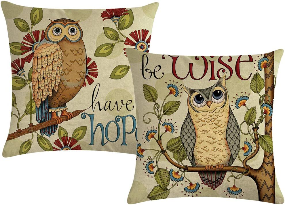 """ULOVE LOVE YOURSELF Cute Owl Throw Pillow Covers Cotton Linen Home Decorative Pillowcases Wise&Hope Cartoon Owl Cushion Covers 18""""×18"""",2Pack for Couch Sofa Bed Patio Car(Owl)"""