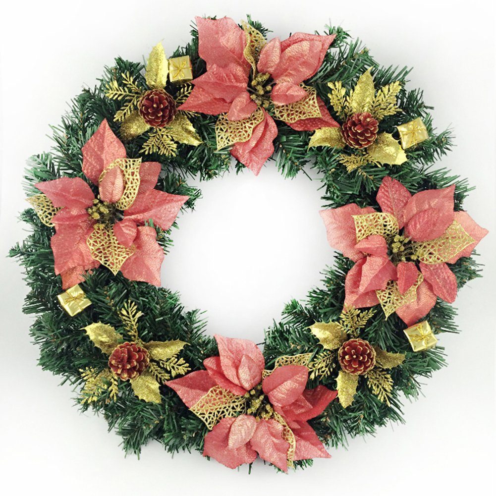 40cm Christmas Tree Decorated Christmas Wreath Ornaments Arcades Hotel Christmas Decorations (red) by Unknown (Image #1)