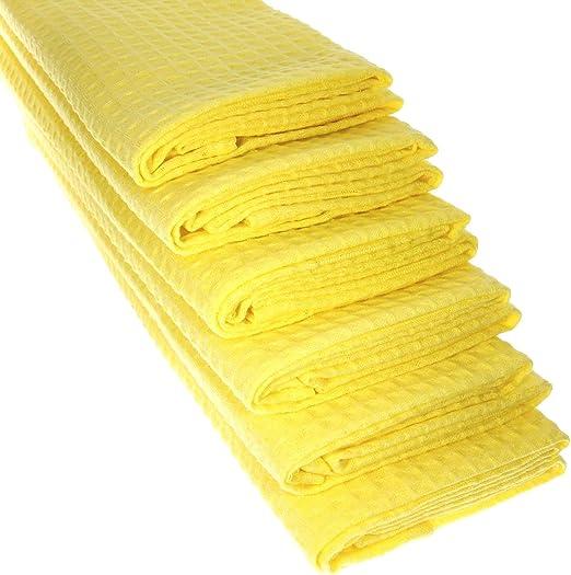 6 x paños de algodón 100% Suela de piqué en Amarillo/paños de Cocina/paño de Limpieza: Amazon.es: Hogar