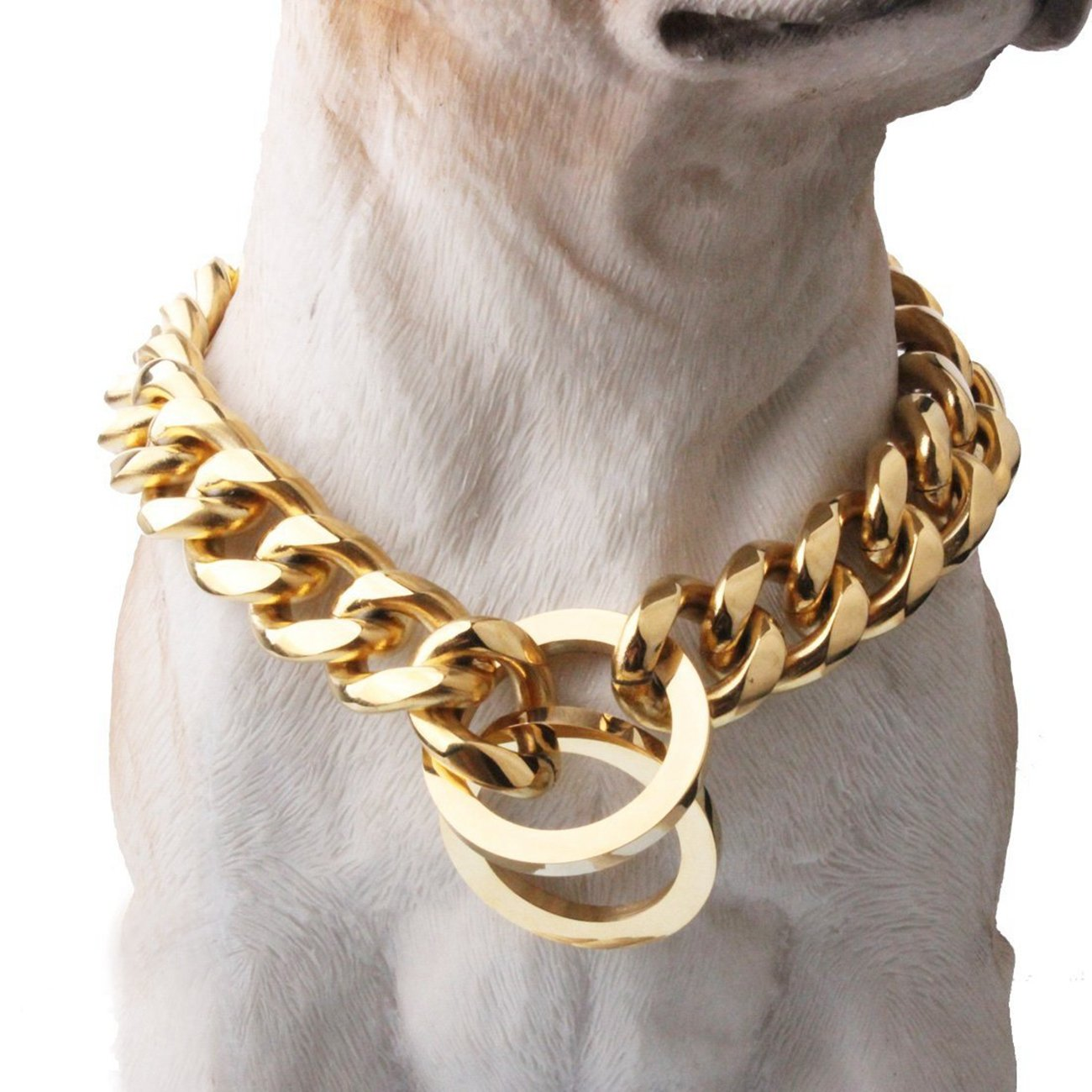 16inch recommend dog's neck 12inch Stainless Steel Curb Chain Pet Dog Collar 15 17 19mm gold Plated for Strong Big Breeds,12-34  (17mm Wide, 16inch Recommend Dog's Neck 12inch)