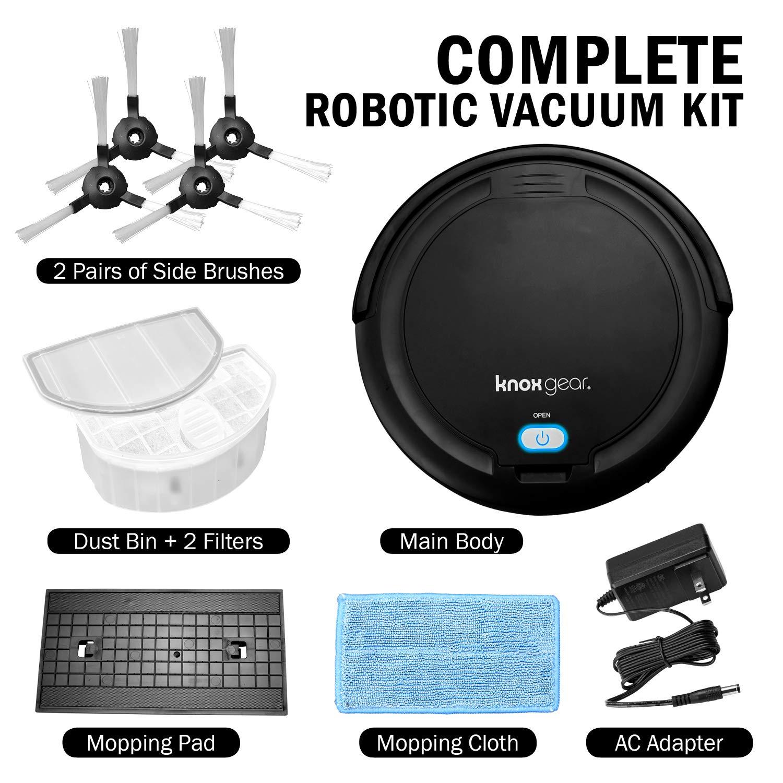 Knox Robot Vacuum Cleaner and Mop – Dual Rotating Brushes for Hardwood Floors, Tiles, Pet Hair – Smart Anti Fall Sensor, 90 Minute Run Time - 2 x ...