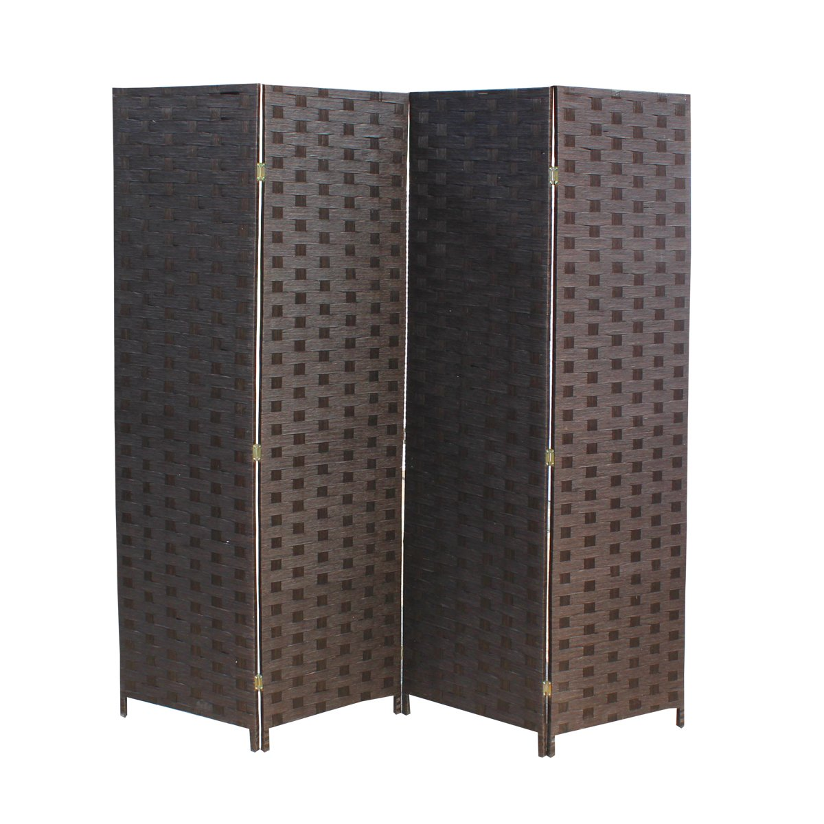 BestMassage 4 Panel Wood Mesh Woven Design Folding Wooden Screen Room Divider