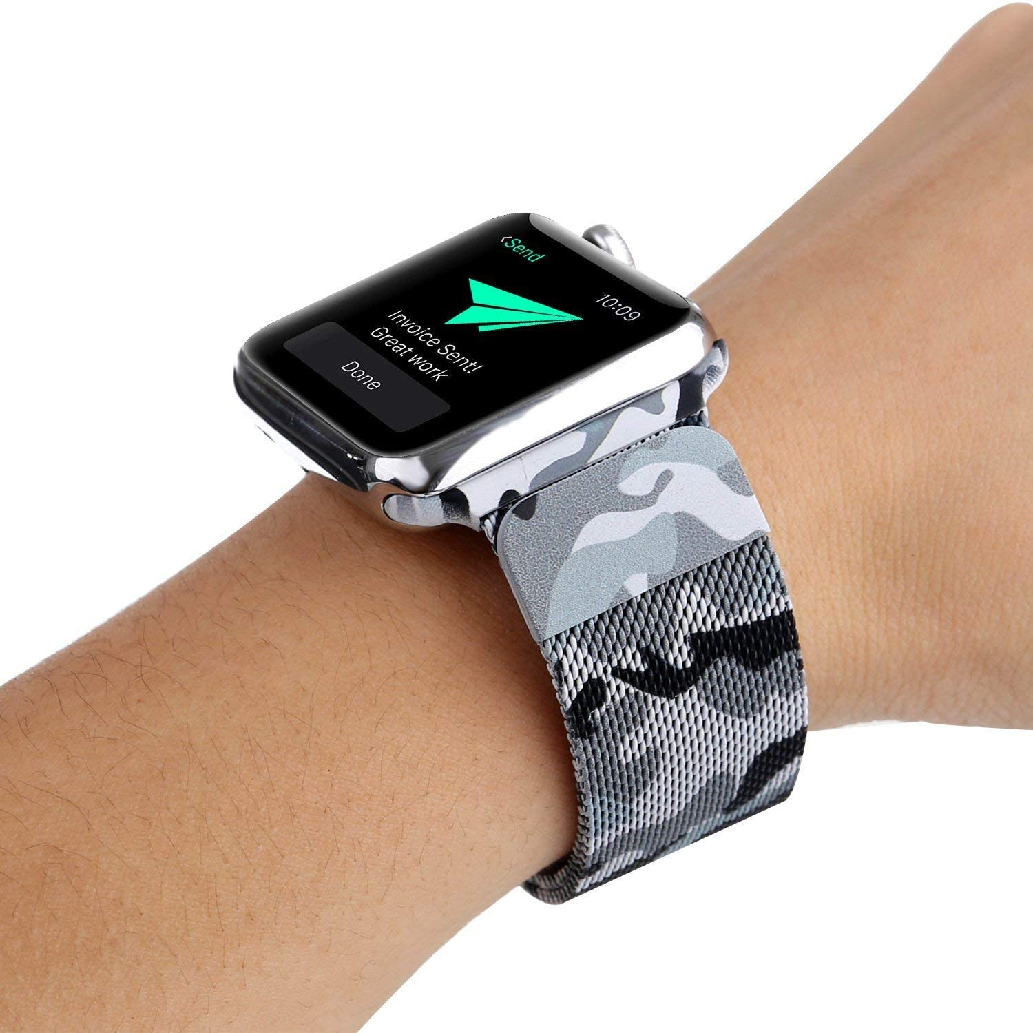 CoolAxesoriz Compatible Camo Band, Flexible Stainless Steel Mesh Milanese Loop Magnet Band Compatible with Iwatch Series 4/3/2/1 (Black Camouflage, 38mm/40mm)