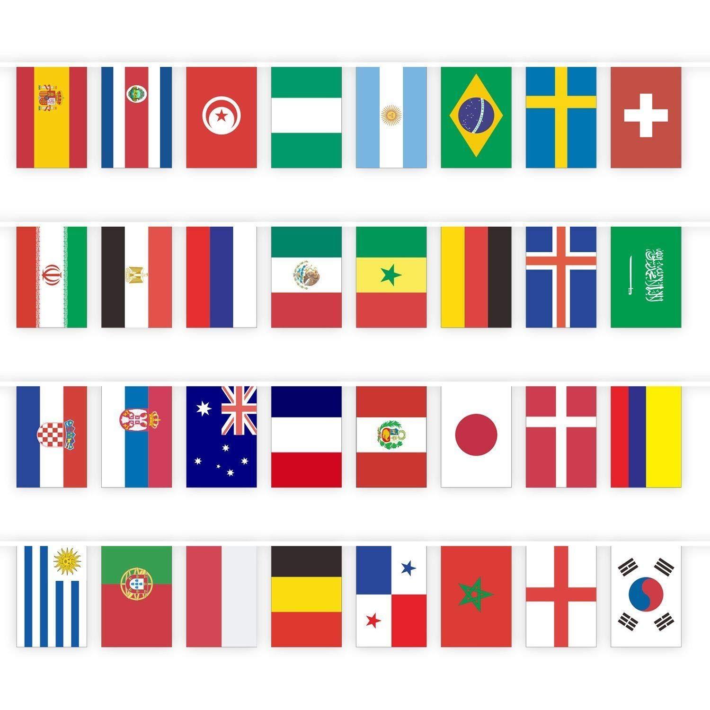 Amazon.com: (2 x 3ft) juego de 32 Copa del Mundo de banderas ...