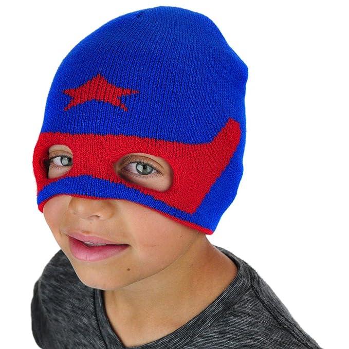 Neon Eaters Kids Hero Knit Snowboard Mask Hat - Blue - Winter Boys Warm Fun  Ski Christmas Beanie 376b2762bd3