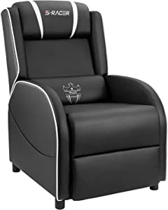 Homall Gaming Recliner Chair Single Living Room Sofa Recliner PU Leather Recliner Seat Home Theater Seating (White)