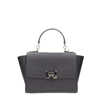 3ff99c4c136e Michael Kors Tina MD Saffiano Leather Satchel Bag in Black Silver Tone  Hardware  Handbags  Amazon.com