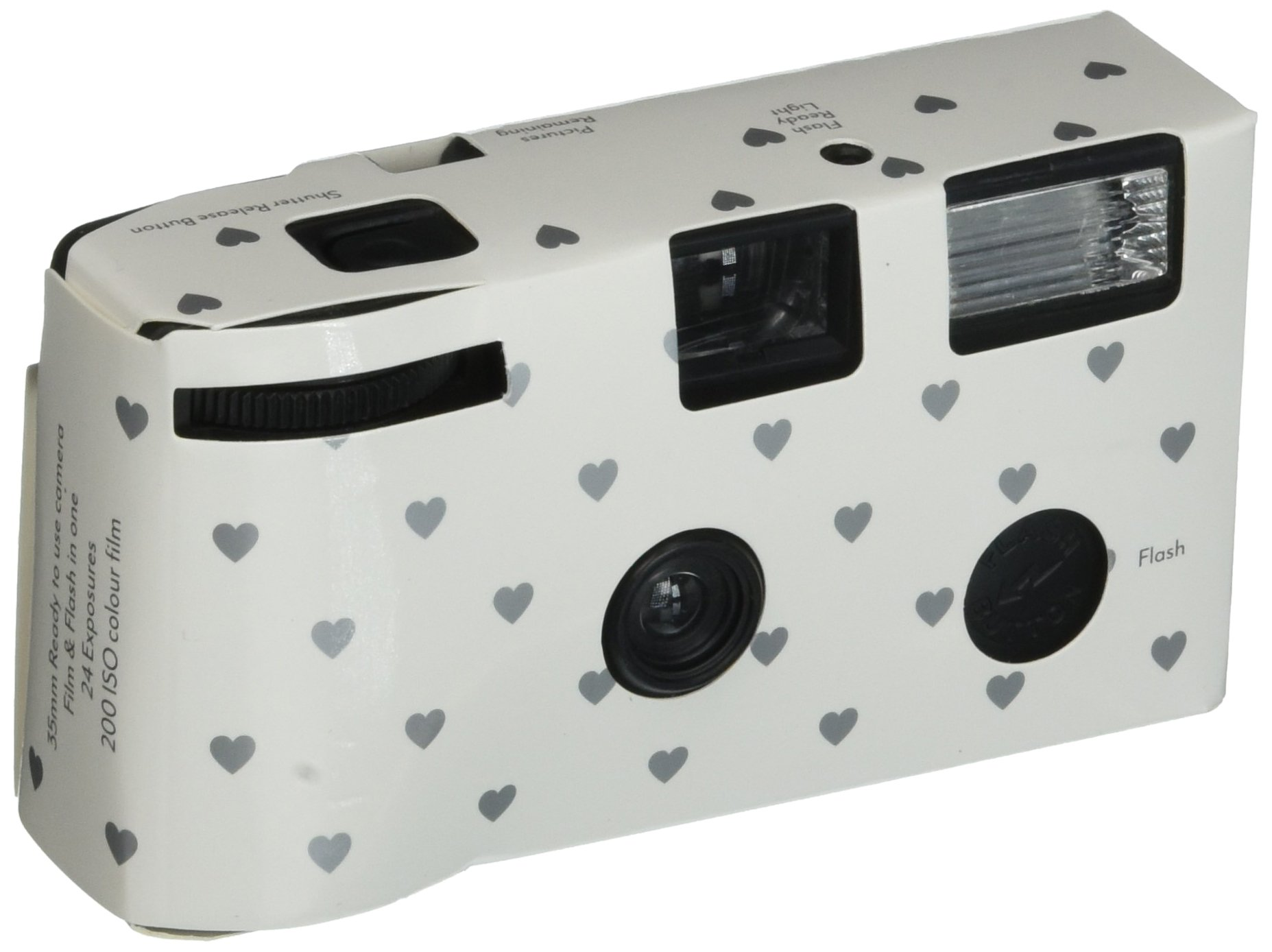 Single Use Camera - Silver Hearts Design - White by Weddingstar Inc.