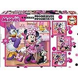 Educa - Minnie Happy Helpers, Puzzles Progresivos, Puzzle Infantil de 12,16,20 y 25 Piezas, a Partir de 3 años (17630)