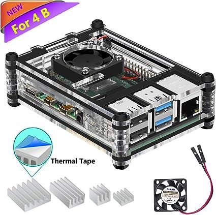 iUniker Raspberry Pi 4 Bo/îtier Bo/îtier en m/étal avec radiateur Coque Raspberry Pi sans ventilateur pour Raspberry Pi 4B Bo/îtier pour Raspberry Pi 4 B avec dissipateur de chaleur