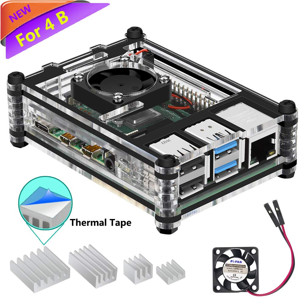 iUniker Raspberry Pi 4b Case, Raspberry Pi 4 Case with Fan Raspberry Pi Heatsink Raspberry Pi Fan Raspberry Pi Case for Raspberry 4 Model B/Pi 4b (Clear-C)