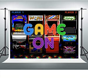 SDDSER Arcade Game Backdrops for Photography 7X5FT Esport Game Hall Entertainment Theme Photo Backgrounds Party Wall Paper Room Mural Props SDLS004