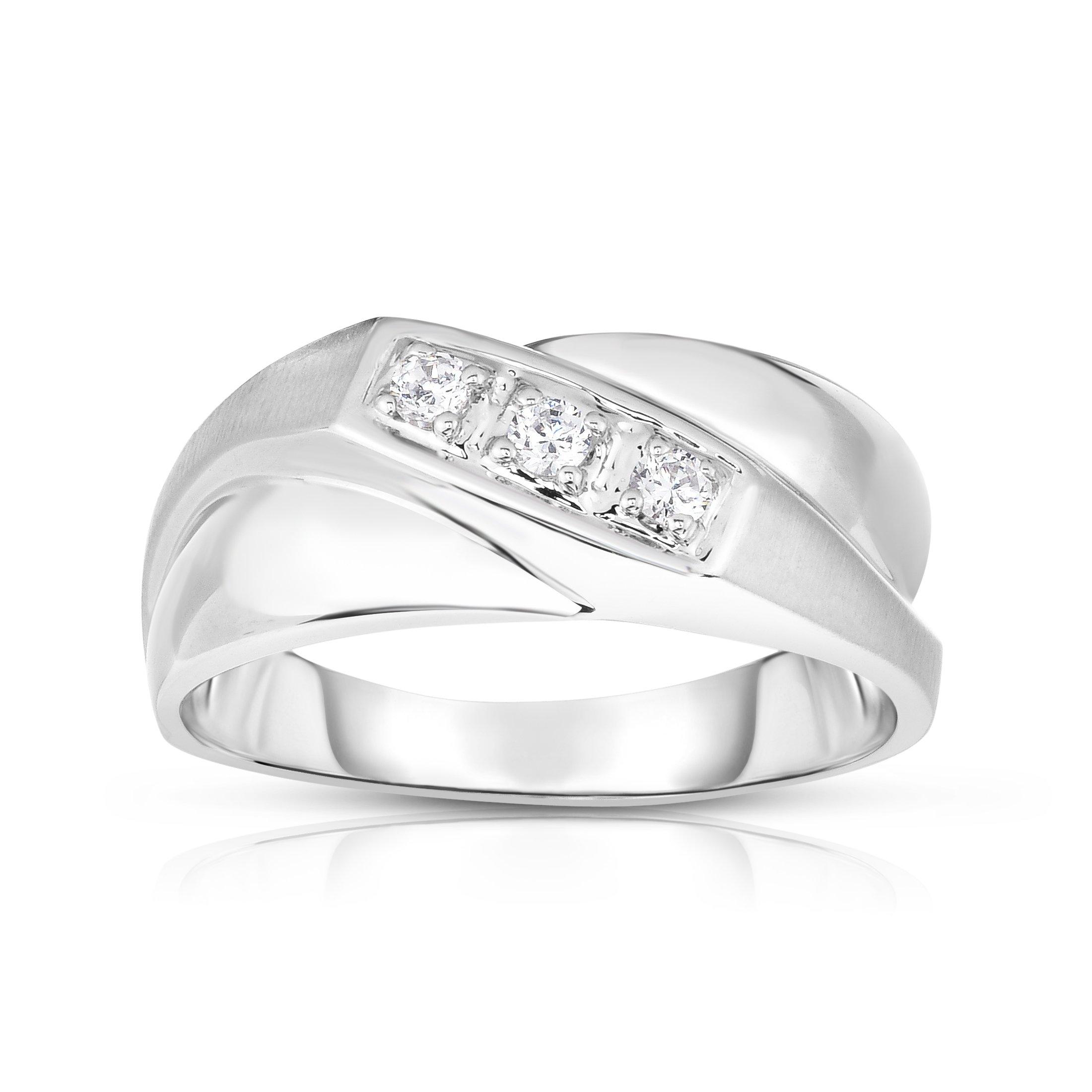 Noray Designs 14K White Gold Diamond (0.15 Ct, I1-I2 Clarity, G-H Color) Men's 3-Stone Ring