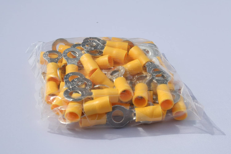 50 Stück Kabelschuh Ring M 6 gelb für Kabel 4, 0 mm²- 6, 0mm² profitec RV 556