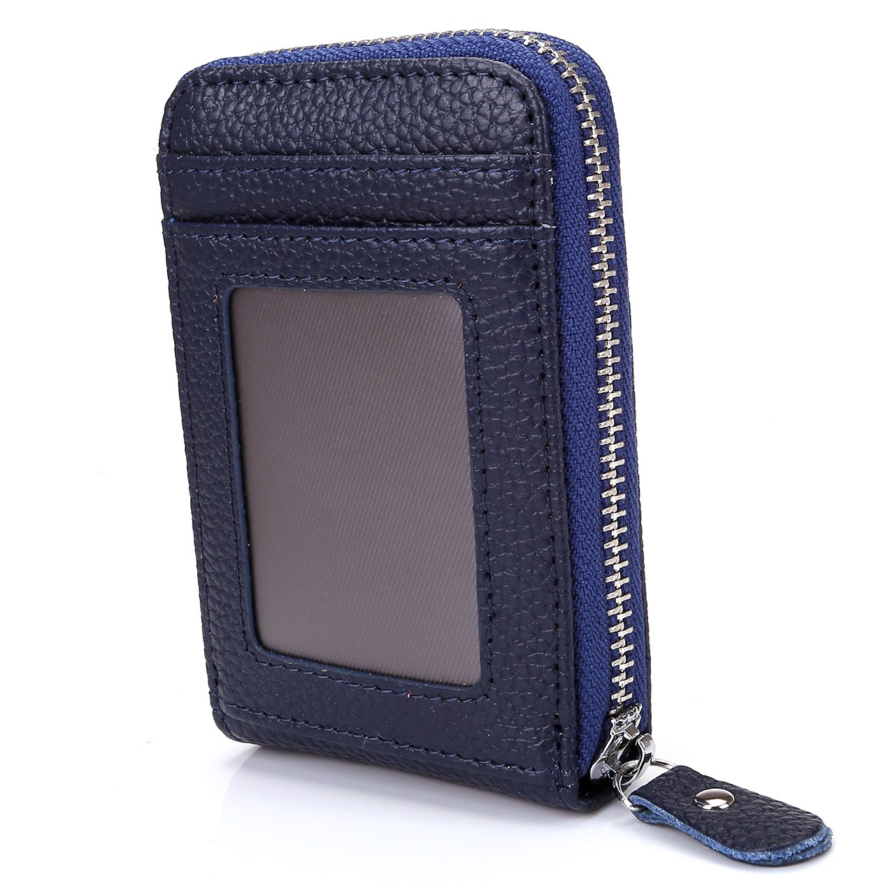 Faleto Accordion Style Leather Mini Credit Card Case Organizer Wallet With Zipper Pocket (Dark Blue)