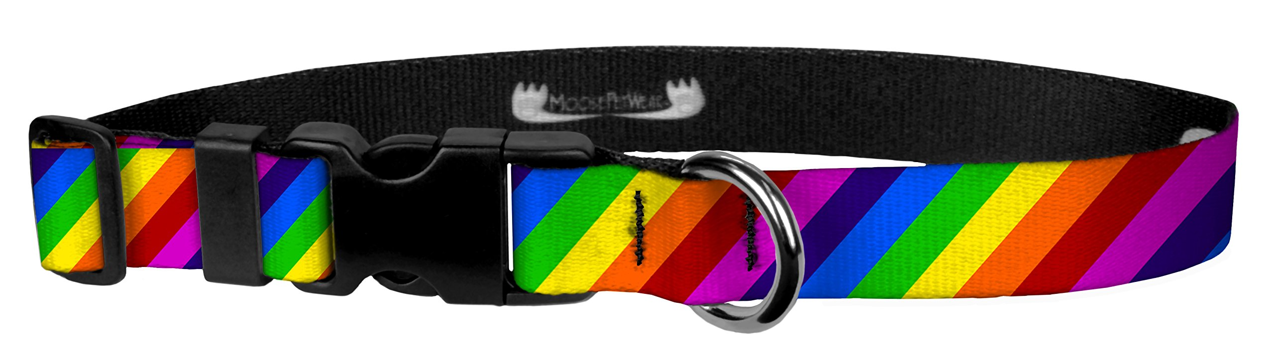 Moose Pet Wear Deluxe Adjustable Collar, 3/4'' Small, Rainbow Stripe
