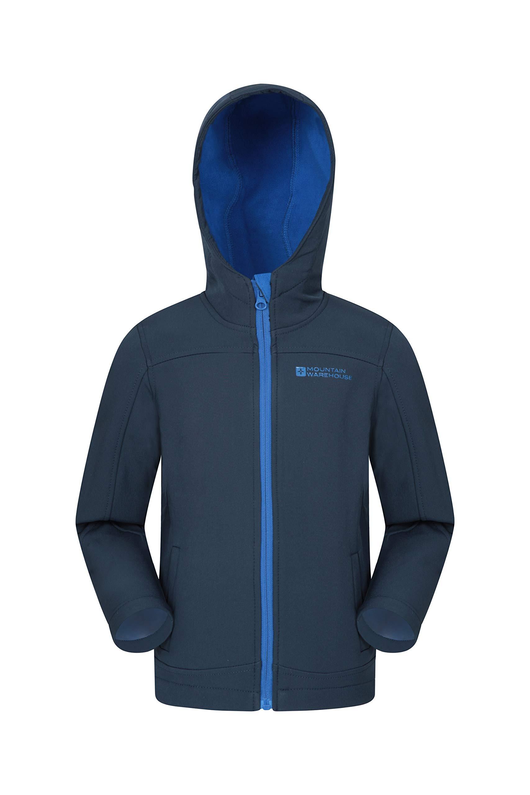 Mountain Warehouse Exodus Kids Softshell Jacket -Wind Resistant Shell Navy 5-6 Years