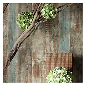 8106 Distressed Wood Panel Wallpaper Rolls, Rustic Blue/Brown Wood Plank Wallpaper Wall Mural Livingroom Bedroom Kitchen Bar Wall Decoration 20.8 in x 32.8 ft