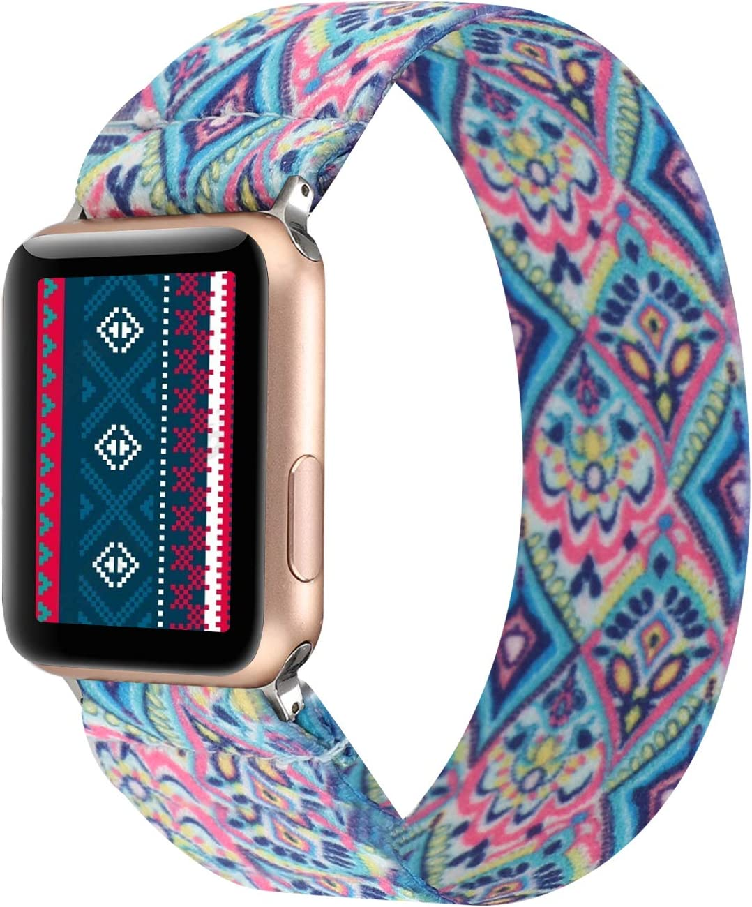 PENKEY Stretchy Band Compatible with Apple Watch Elastic Band 38mm 40mm Cute Pattern Soft Nylon Strap Replacement Wristband for iWatch Series 5/4/3/2/1 (Boho Diamond, 38mm/40mm Small Size)