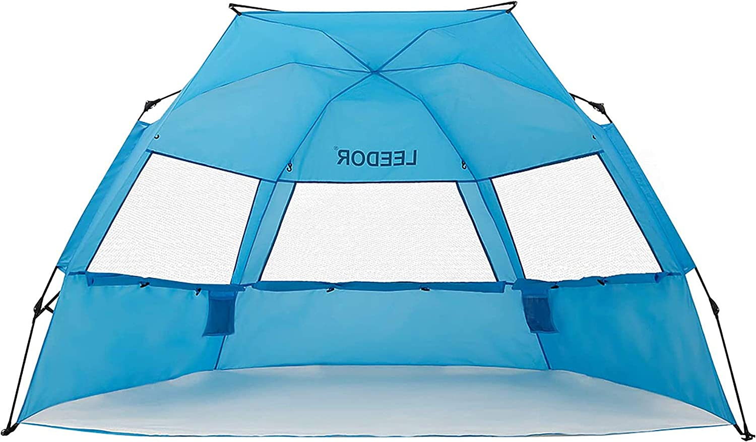 Leedor Beach Tent Sun Shelter Instant Beach Umbrella Easy Cabana with UPF 50+ UV Portable Windproof Pop Up Shade for 3 to 4 Person for Family Patent Pending