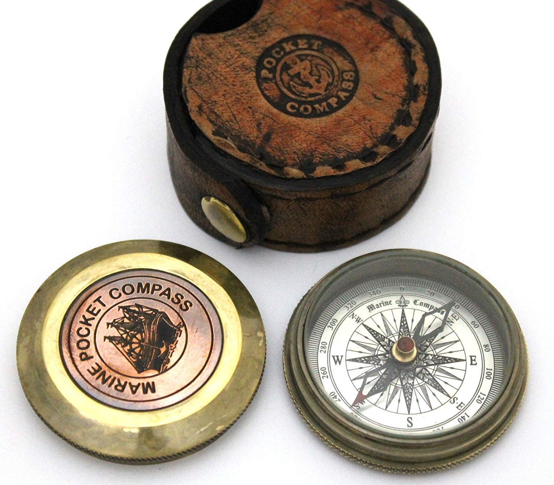 Nautical Replica Hub Antique Marine Poem Compass Pocket Compass w Leather Case Pocket Size