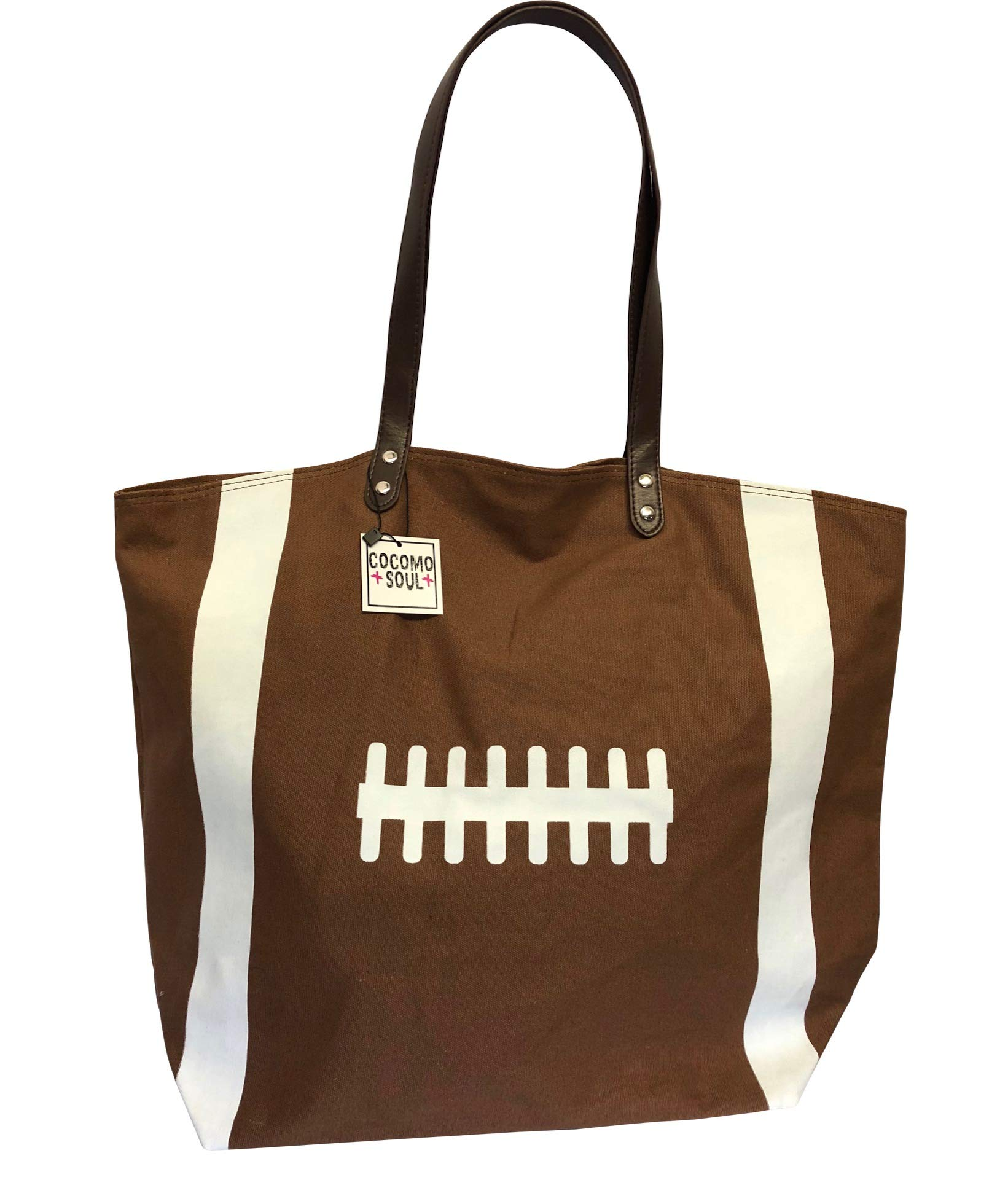 Brown Football Canvas Tote Bag Handbag Large Oversize Sports 20 x 17 Inches