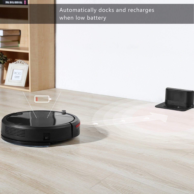 deik Robot aspirador, tiempo de robot aspirador con función de programación, 30 W Motor y 0,9 litros Depósito, cepillo eléctrico y filtro, adecuado para el pelo de animal, madera suelo y alfombras,