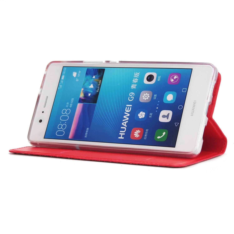 Okssud Felfy Kompatibel mit Huawei P9 Lite H/ülle Glitzer Handyh/ülle Case Rose Gold Luxus Gl/änzend Premium PU Leder Flip Case D/ünn Transparent Silikon Inner Cover Klapph/ülle mit Standfunktion