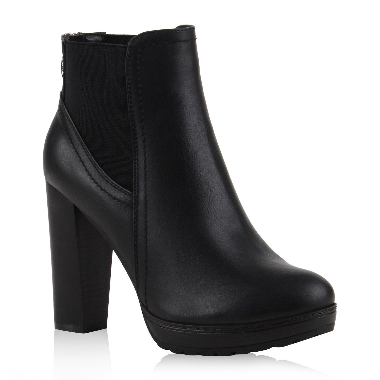Stiefelparadies Damen Stiefeletten High Heels mit Blockabsatz Profilsohle Flandell Schwarz