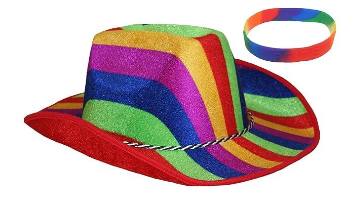 13a239bde Rainbow Pride Men & Womens' Striped Cowboy Hat & Rainbow Silicone ...