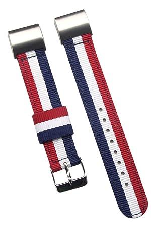 18mm azul / / rojo de alta gama blanca de nylon balístico reloj de reemplazo de la correa de banda para los hombres de Fitbit Carga 2: Amazon.es: Relojes