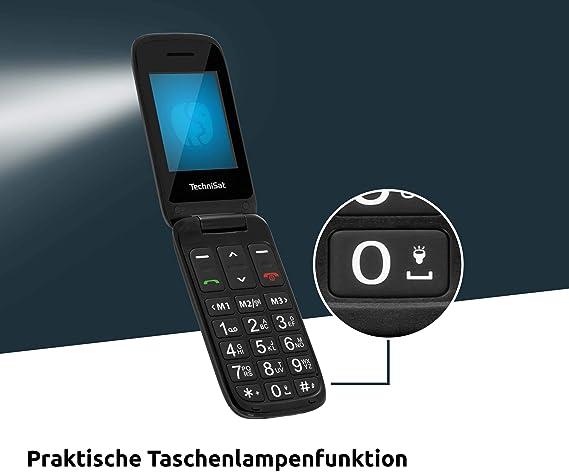 Technisat Techniphone Isi 4 Klappbares Seniorenhandy Ohne Vertrag 2 4 Zoll Display Mini Sim Microsd Kartenslot Inklusive Ladestation 900 Mah Akku Schwarz Elektronik