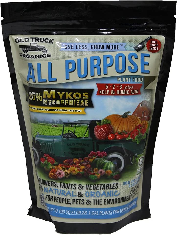 All Purpose 5-2-3 Organic Fertilizer with MYKOS Mycorrhizae, 2.2 Pound Bag