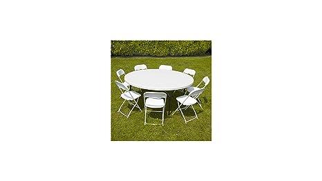 Rekkem Conjunto Mesa Redonda y sillas Plegables 8 Personas ...