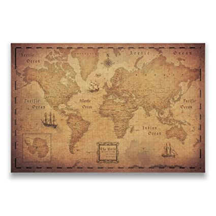 Amazon map with pins world travel map conquest maps golden map with pins world travel map conquest maps golden aged style push pin gumiabroncs Images