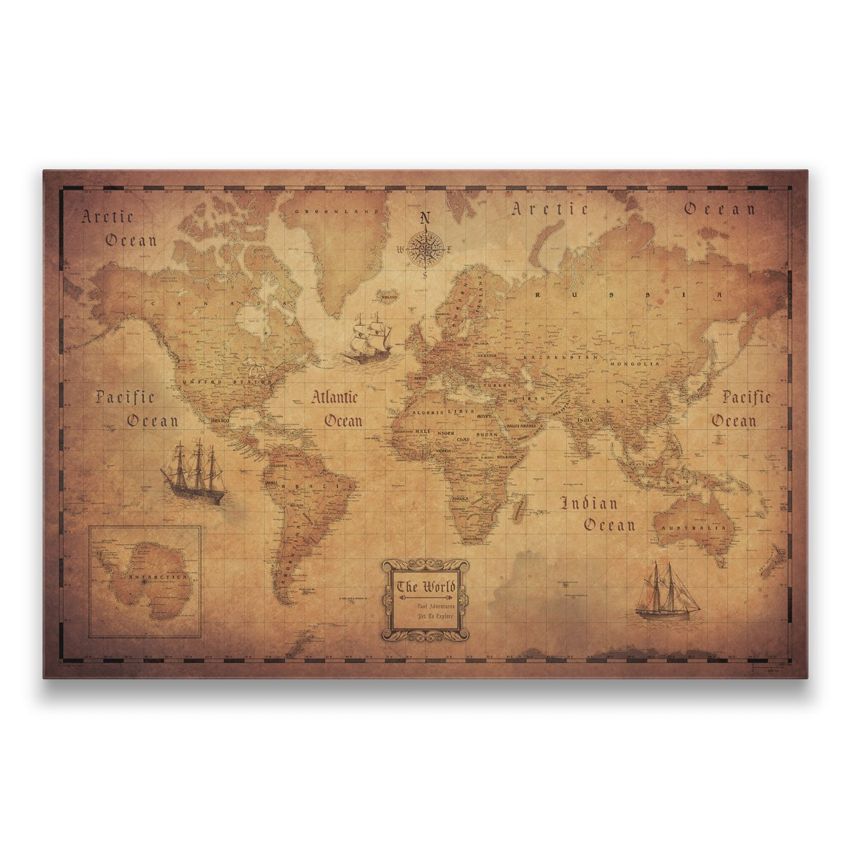 Map with Pins - World Travel Map - Conquest Maps. Golden Aged Style Push Pin Travel Map Cork Board, Track Your Travels Pinable Canvas Map with Cork Backing, Internal Framed (36 x 24 Inches)