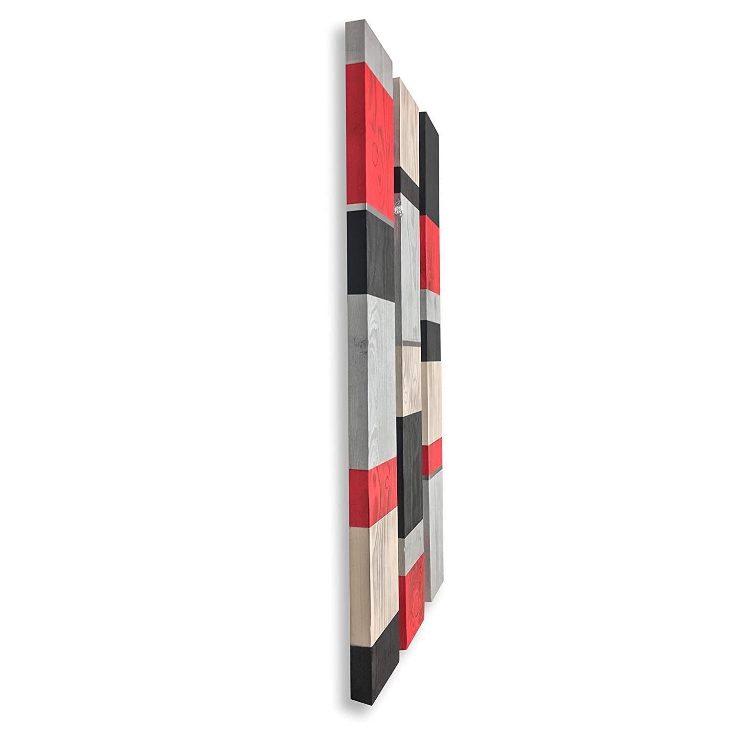 White /& Silver Black 3 Panel Wood Wall Sculpture Red Modern Rustic Wood Wall Hanging