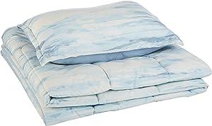 AmazonBasics Comforter Set, Twin / Twin XL, Blue Watercolor, Microfiber, Ultra-Soft