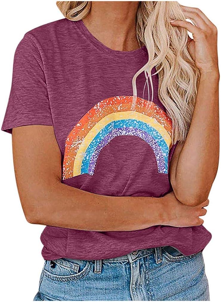 YANG  최고 여성 캐주얼 레인보우 블라우스 T-셔츠 패션 O-목 티 짧은 소매 셔츠 여름 튜닉 폴로 셔츠